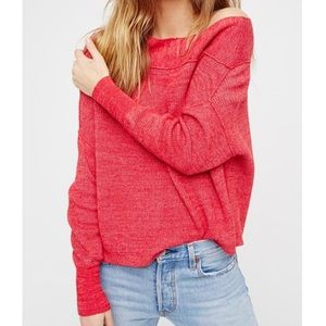 Free People Size L Marled Red Off Shoulder Sweater